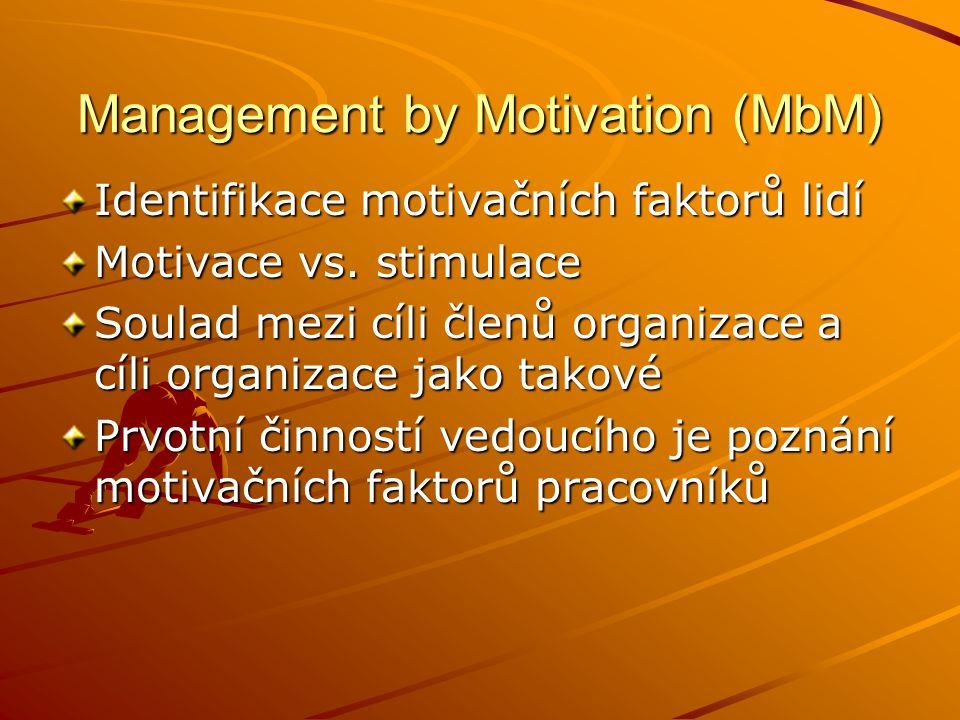 Management by Delegation (MbD) Delegace rozhodnutí Co může být uděláno na nižší úrovni, emělo by se přenášet na vyšší Úkol manažera - kontrola Rozdělení činností na výkonné a řídící