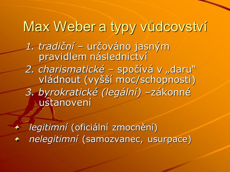 Max Weber a typy vůdcovství 1.tradiční – určováno jasným pravidlem následnictví 2.