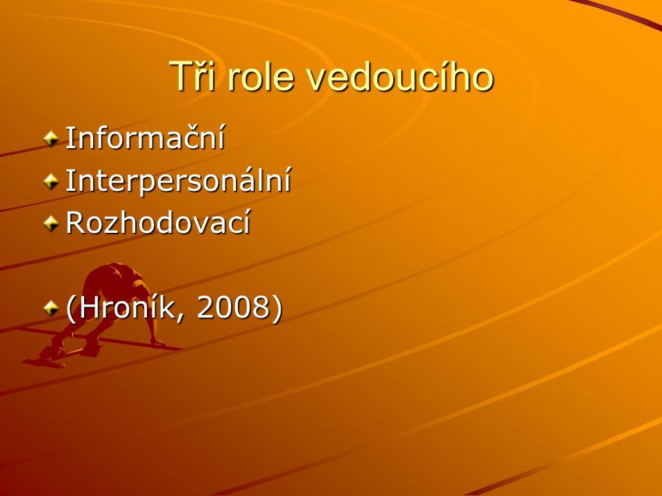 Tři role vedoucího InformačníInterpersonálníRozhodovací (Hroník, 2008)