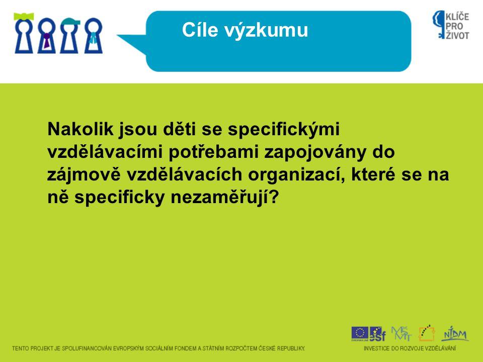 Cíle výzkumu Nakolik jsou děti se specifickými vzdělávacími potřebami zapojovány do zájmově vzdělávacích organizací, které se na ně specificky nezaměř