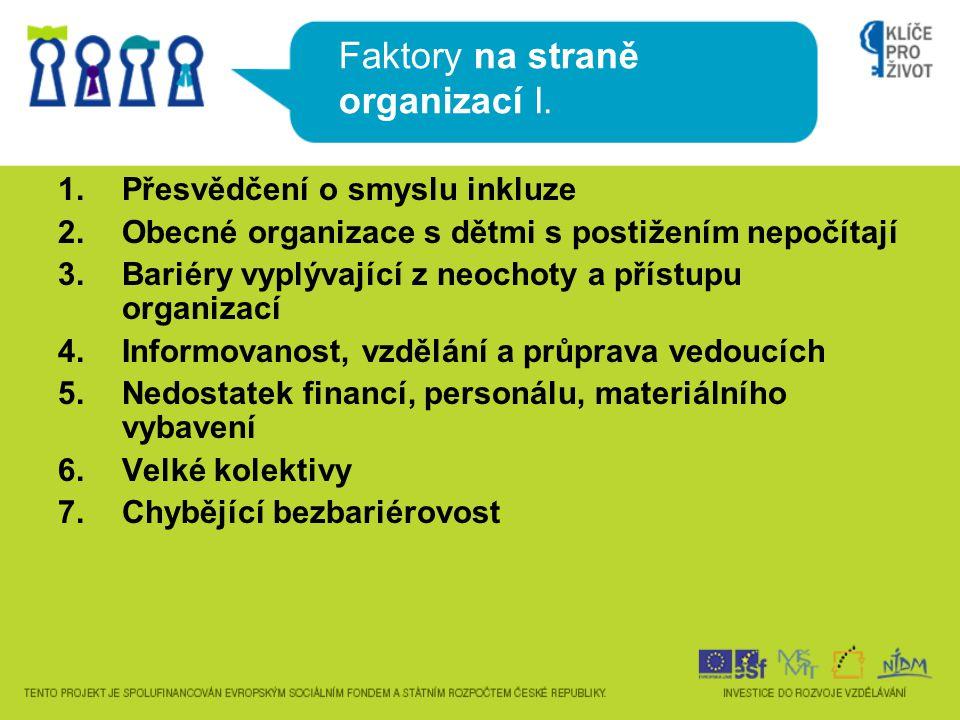 Faktory na straně organizací I. 1.Přesvědčení o smyslu inkluze 2.Obecné organizace s dětmi s postižením nepočítají 3.Bariéry vyplývající z neochoty a
