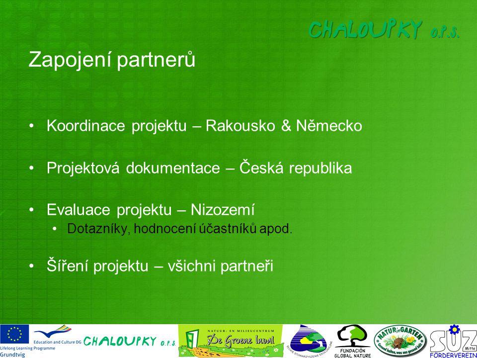Zapojení partnerů Koordinace projektu – Rakousko & Německo Projektová dokumentace – Česká republika Evaluace projektu – Nizozemí Dotazníky, hodnocení účastníků apod.