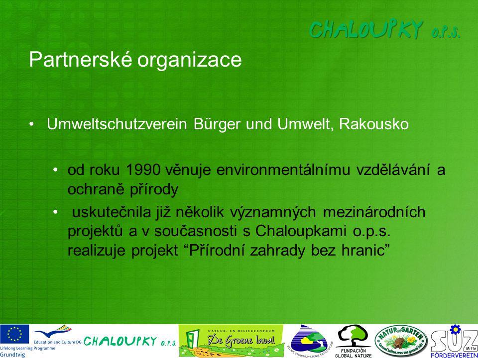 Partnerské organizace Umweltschutzverein Bürger und Umwelt, Rakousko od roku 1990 věnuje environmentálnímu vzdělávání a ochraně přírody uskutečnila již několik významných mezinárodních projektů a v současnosti s Chaloupkami o.p.s.