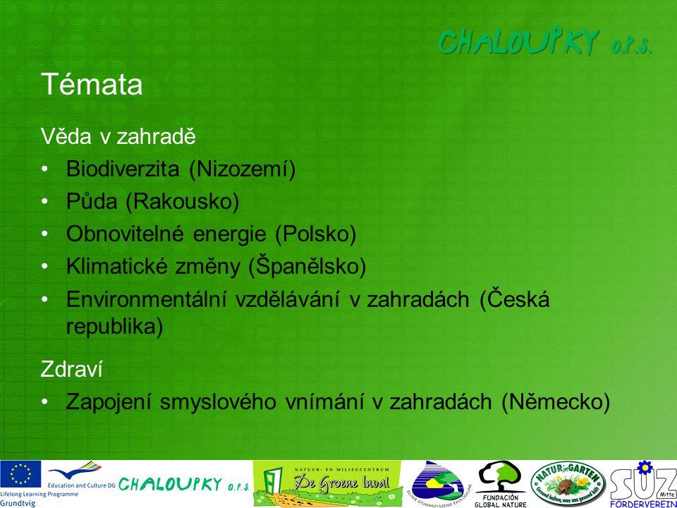 Témata Věda v zahradě Biodiverzita (Nizozemí) Půda (Rakousko) Obnovitelné energie (Polsko) Klimatické změny (Španělsko) Environmentální vzdělávání v zahradách (Česká republika) Zdraví Zapojení smyslového vnímání v zahradách (Německo)