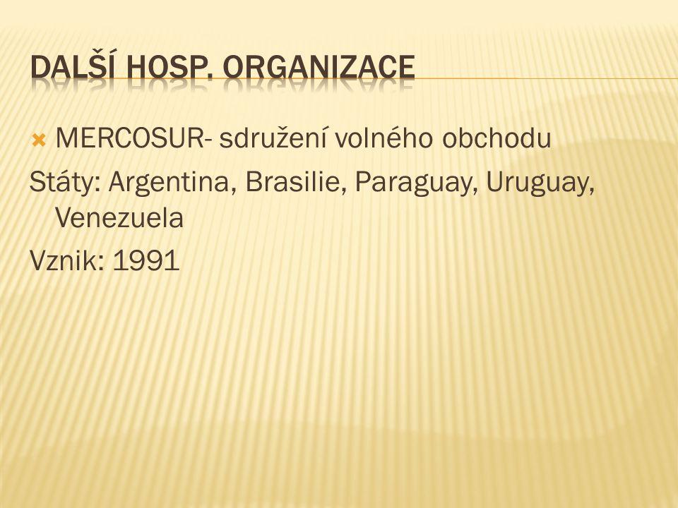  MERCOSUR- sdružení volného obchodu Státy: Argentina, Brasilie, Paraguay, Uruguay, Venezuela Vznik: 1991