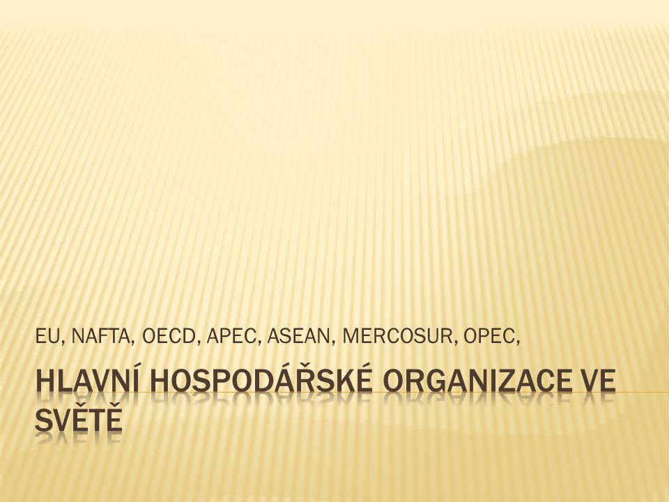EU, NAFTA, OECD, APEC, ASEAN, MERCOSUR, OPEC,