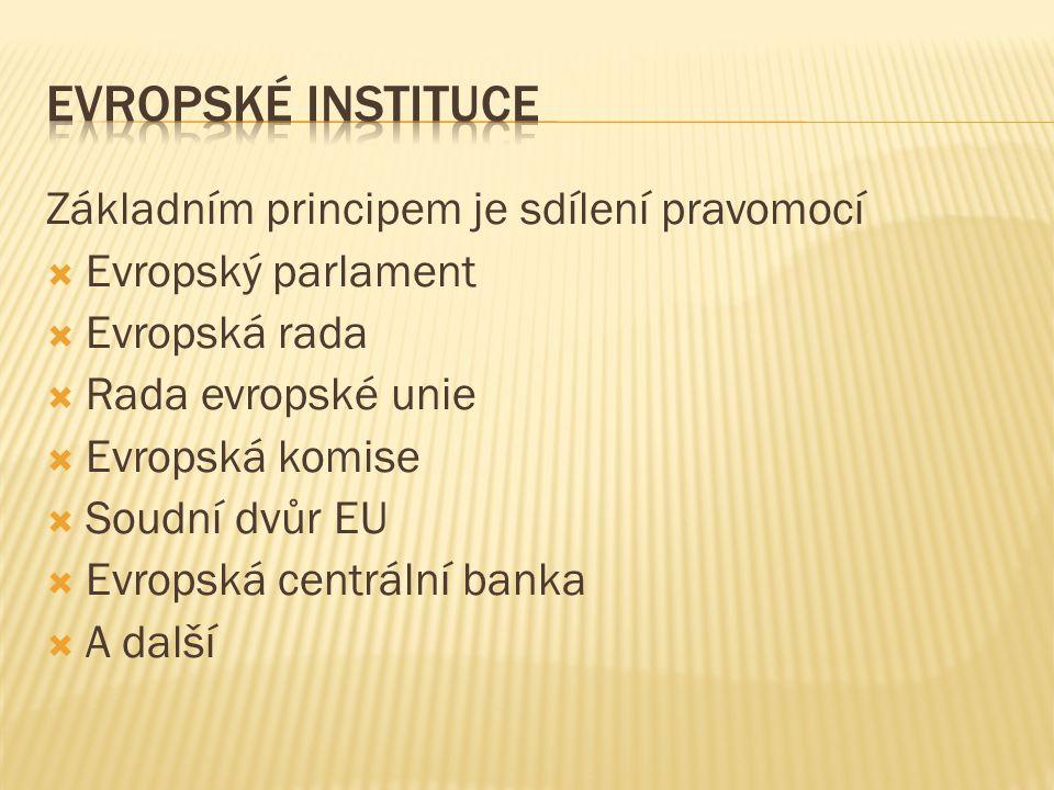 Základním principem je sdílení pravomocí  Evropský parlament  Evropská rada  Rada evropské unie  Evropská komise  Soudní dvůr EU  Evropská centrální banka  A další