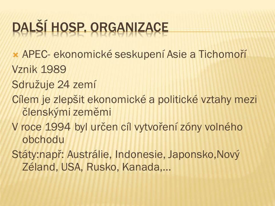  APEC- ekonomické seskupení Asie a Tichomoří Vznik 1989 Sdružuje 24 zemí Cílem je zlepšit ekonomické a politické vztahy mezi členskými zeměmi V roce 1994 byl určen cíl vytvoření zóny volného obchodu Státy:např: Austrálie, Indonesie, Japonsko,Nový Zéland, USA, Rusko, Kanada,…