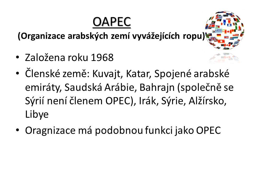 OAPEC OAPEC (Organizace arabských zemí vyvážejících ropu) Založena roku 1968 Členské země: Kuvajt, Katar, Spojené arabské emiráty, Saudská Arábie, Bah