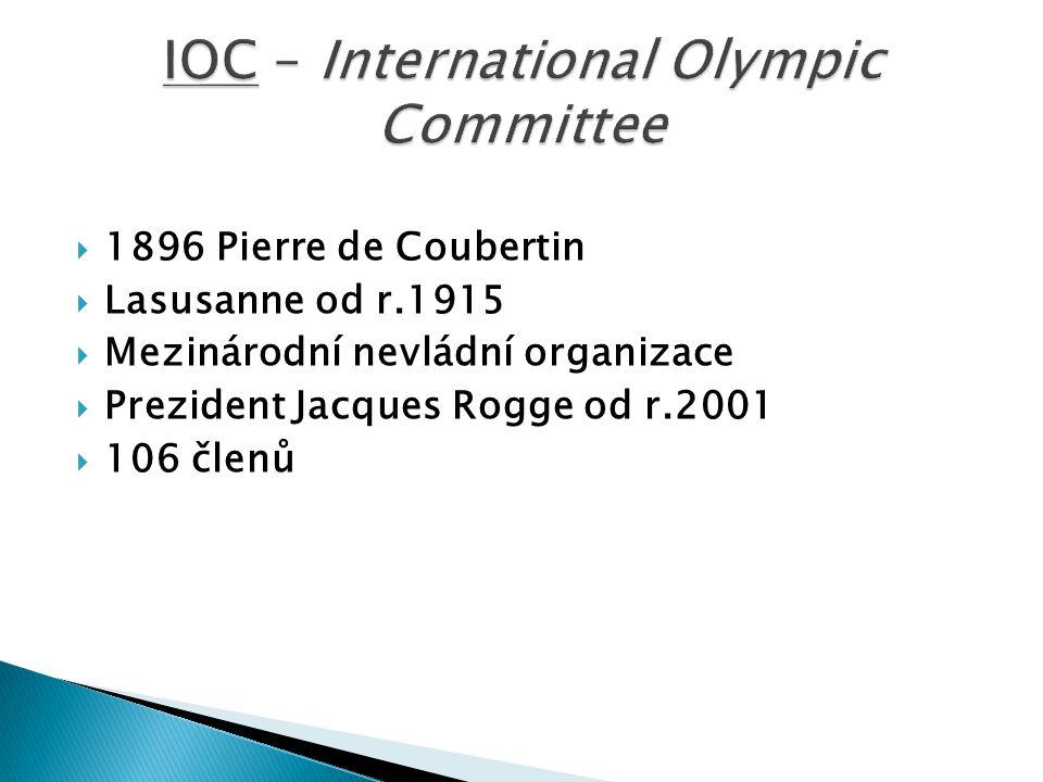  1896 Pierre de Coubertin  Lasusanne od r.1915  Mezinárodní nevládní organizace  Prezident Jacques Rogge od r.2001  106 členů
