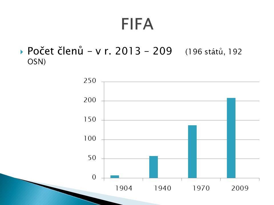  Počet členů – v r. 2013 – 209 (196 států, 192 OSN)