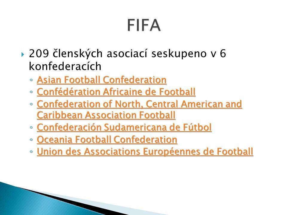  209 členských asociací seskupeno v 6 konfederacích ◦ Asian Football Confederation Asian Football Confederation Asian Football Confederation ◦ Conféd