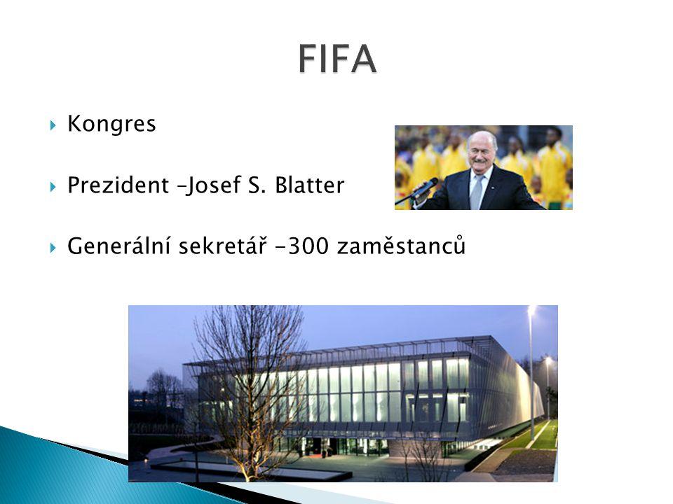  Kongres  Prezident –Josef S. Blatter  Generální sekretář -300 zaměstanců