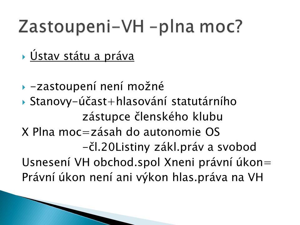  Ústav státu a práva  -zastoupení není možné  Stanovy-účast+hlasování statutárního zástupce členského klubu X Plna moc=zásah do autonomie OS -čl.20