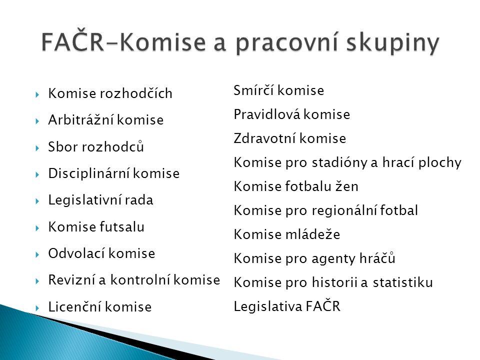  Komise rozhodčích  Arbitrážní komise  Sbor rozhodců  Disciplinární komise  Legislativní rada  Komise futsalu  Odvolací komise  Revizní a kont