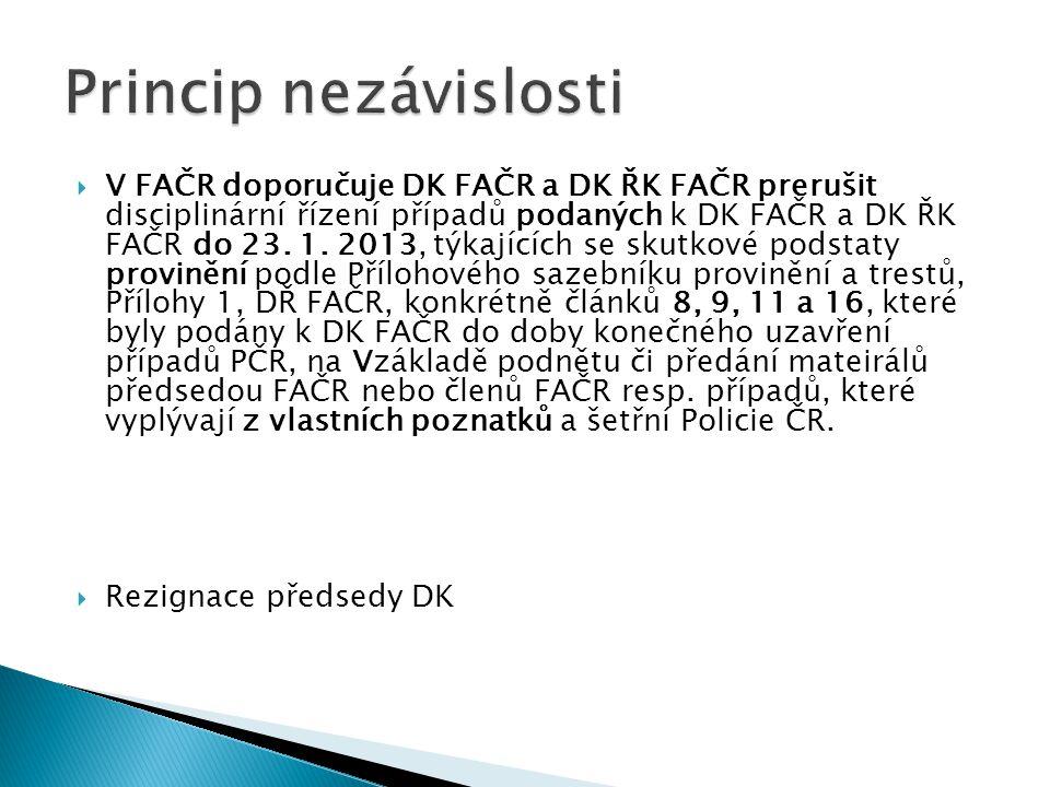  V FAČR doporučuje DK FAČR a DK ŘK FAČR prerušit disciplinární řízení případů podaných k DK FAČR a DK ŘK FAČR do 23. 1. 2013, týkajících se skutkové