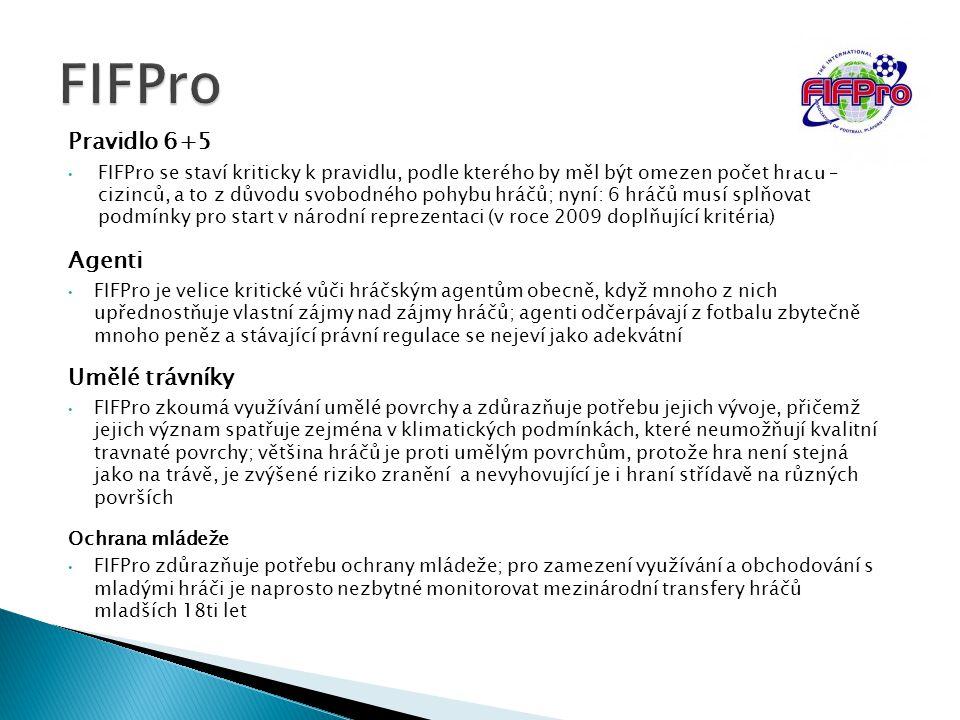 Pravidlo 6+5 FIFPro se staví kriticky k pravidlu, podle kterého by měl být omezen počet hráčů – cizinců, a to z důvodu svobodného pohybu hráčů; nyní: