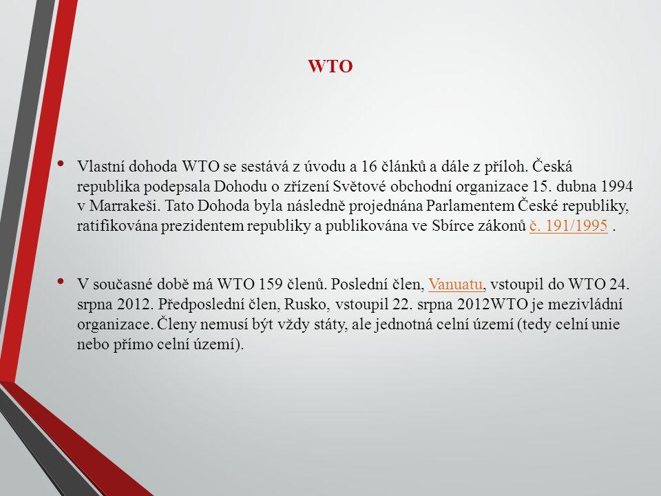 WTO Vlastní dohoda WTO se sestává z úvodu a 16 článků a dále z příloh.