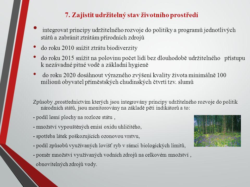 7. Zajistit udržitelný stav životního prostředí integrovat principy udržitelného rozvoje do politiky a programů jednotlivých států a zabránit ztrátám