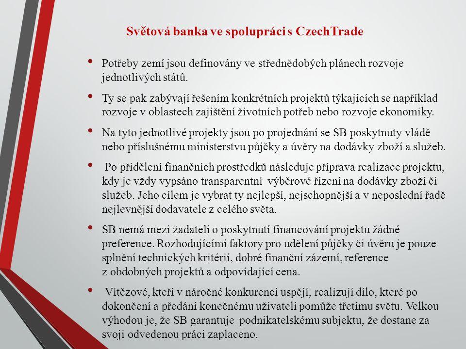 Světová banka ve spolupráci s CzechTrade Potřeby zemí jsou definovány ve střednědobých plánech rozvoje jednotlivých států.