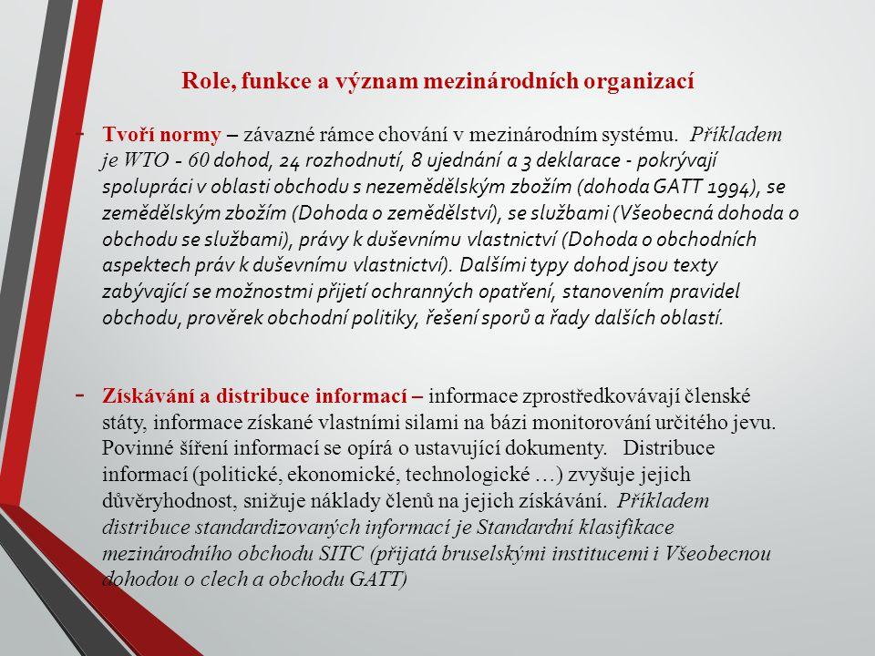 Role, funkce a význam mezinárodních organizací - Tvoří normy – závazné rámce chování v mezinárodním systému.