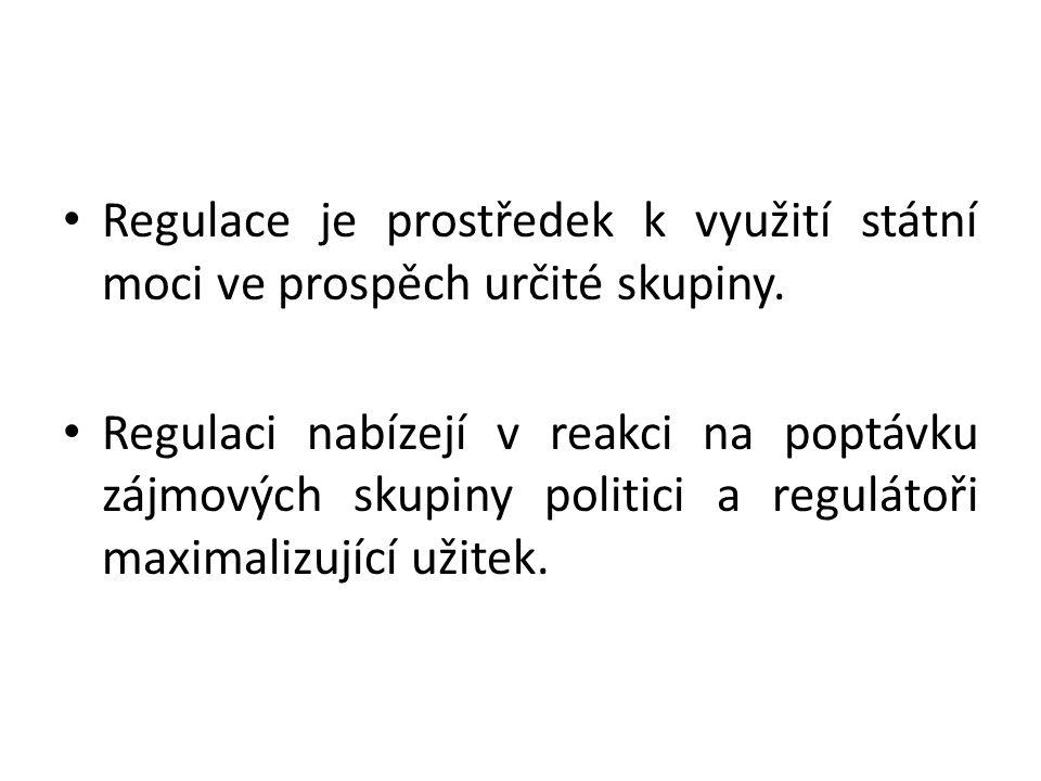 Regulace je prostředek k využití státní moci ve prospěch určité skupiny. Regulaci nabízejí v reakci na poptávku zájmových skupiny politici a regulátoř