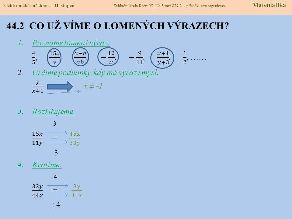 44.2 CO UŽ VÍME O LOMENÝCH VÝRAZECH? Elektronická učebnice - II. stupeň Základní škola Děčín VI, Na Stráni 879/2 – příspěvková organizace Matematika