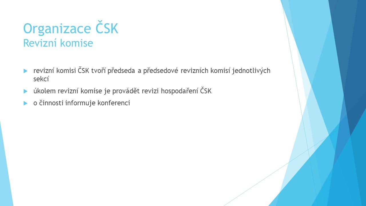 Organizace ČSK Revizní komise  revizní komisi ČSK tvoří předseda a předsedové revizních komisí jednotlivých sekcí  úkolem revizní komise je provádět revizi hospodaření ČSK  o činnosti informuje konferenci