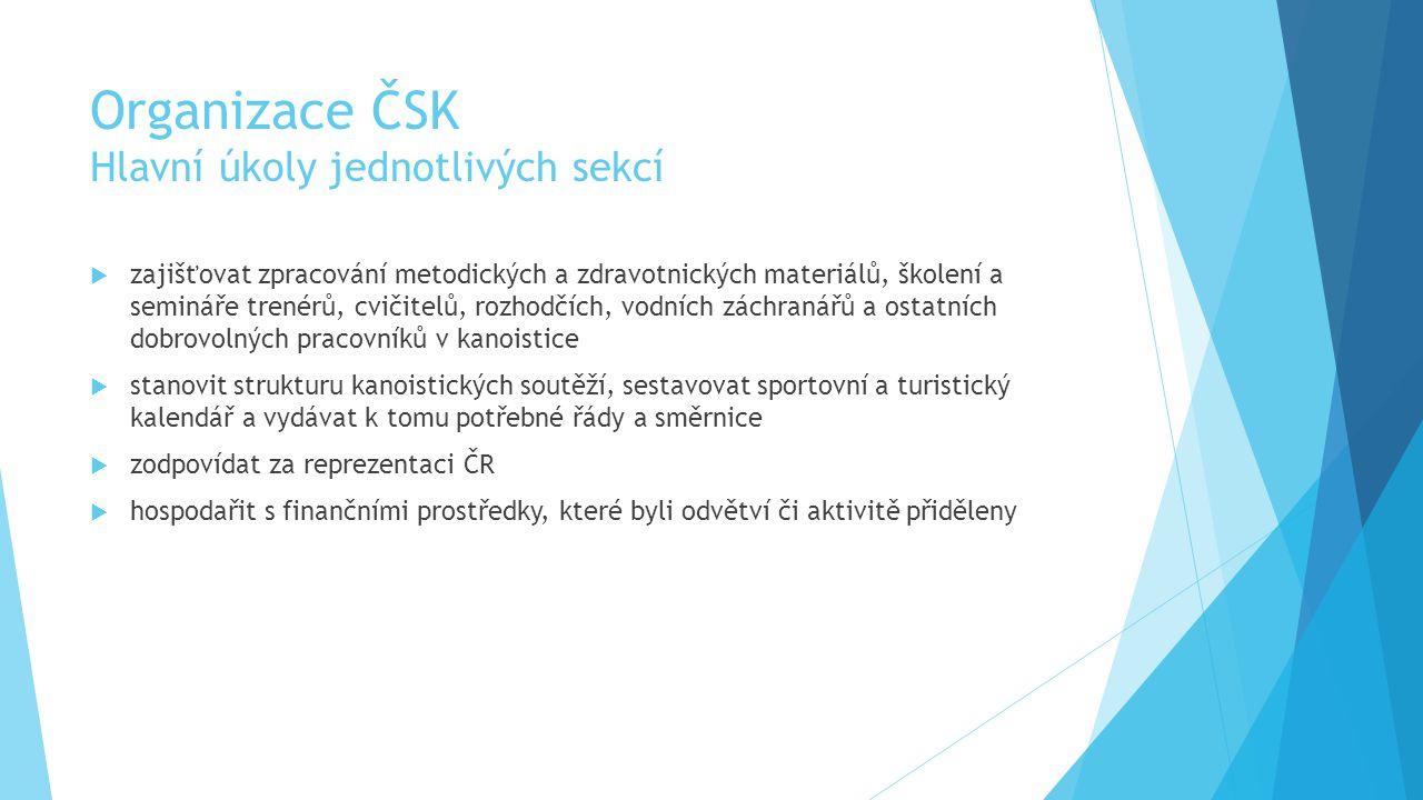 Organizace ČSK Hlavní úkoly jednotlivých sekcí  zajišťovat zpracování metodických a zdravotnických materiálů, školení a semináře trenérů, cvičitelů, rozhodčích, vodních záchranářů a ostatních dobrovolných pracovníků v kanoistice  stanovit strukturu kanoistických soutěží, sestavovat sportovní a turistický kalendář a vydávat k tomu potřebné řády a směrnice  zodpovídat za reprezentaci ČR  hospodařit s finančními prostředky, které byli odvětví či aktivitě přiděleny