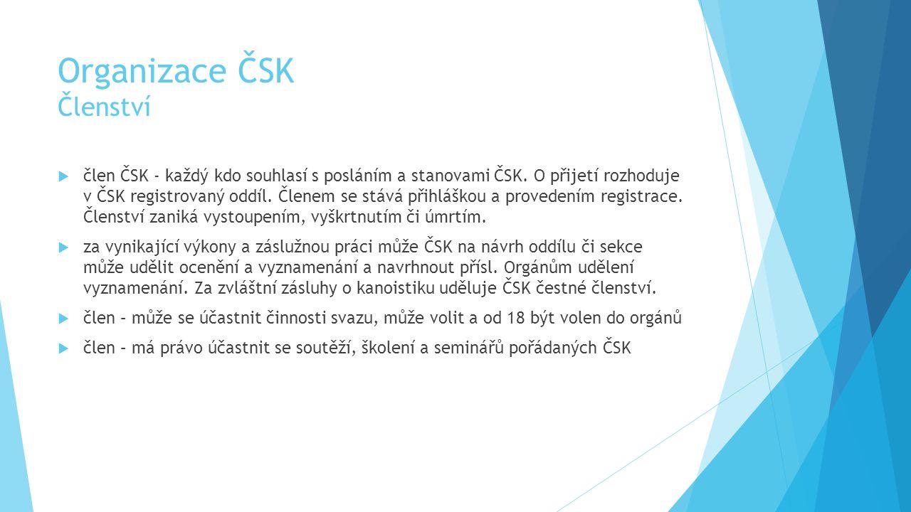 Organizace ČSK Členství  člen ČSK - každý kdo souhlasí s posláním a stanovami ČSK.