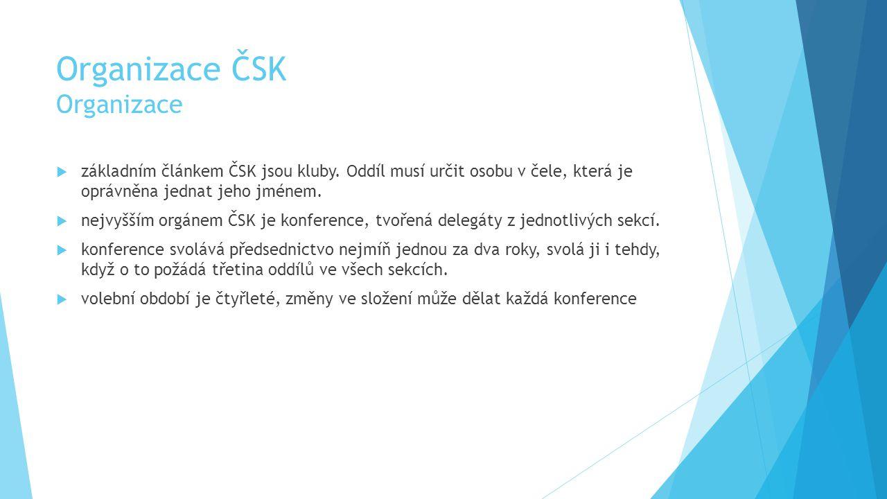 Organizace ČSK Organizace  základním článkem ČSK jsou kluby.