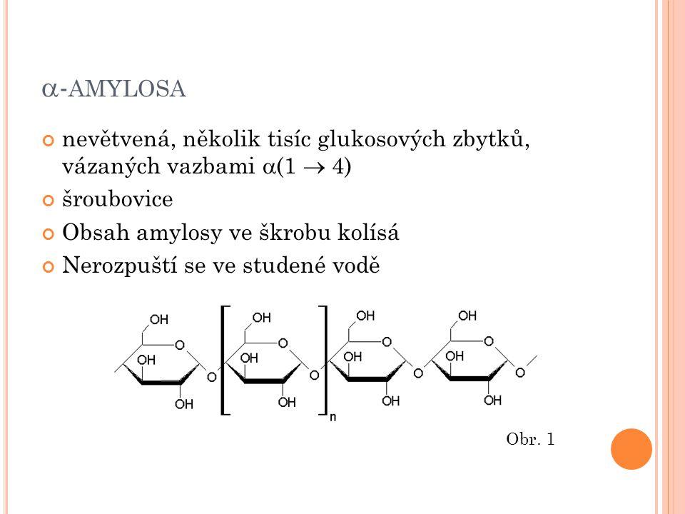 A MYLOPEKTIN Obsahuje D-glukosové zbytky vázané vazbou 1  4 a 1  6 Je bohatě větvený Rozpouští se ve studené vodě Obr.