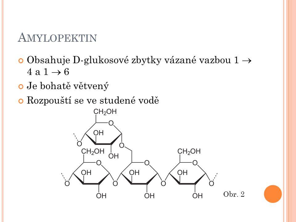 A MYLOPEKTIN Obsahuje D-glukosové zbytky vázané vazbou 1  4 a 1  6 Je bohatě větvený Rozpouští se ve studené vodě Obr. 2