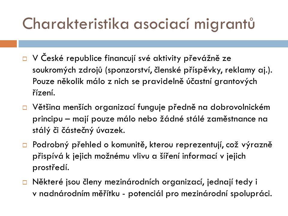 Charakteristika asociací migrantů  V České republice financují své aktivity převážně ze soukromých zdrojů (sponzorství, členské příspěvky, reklamy aj.).