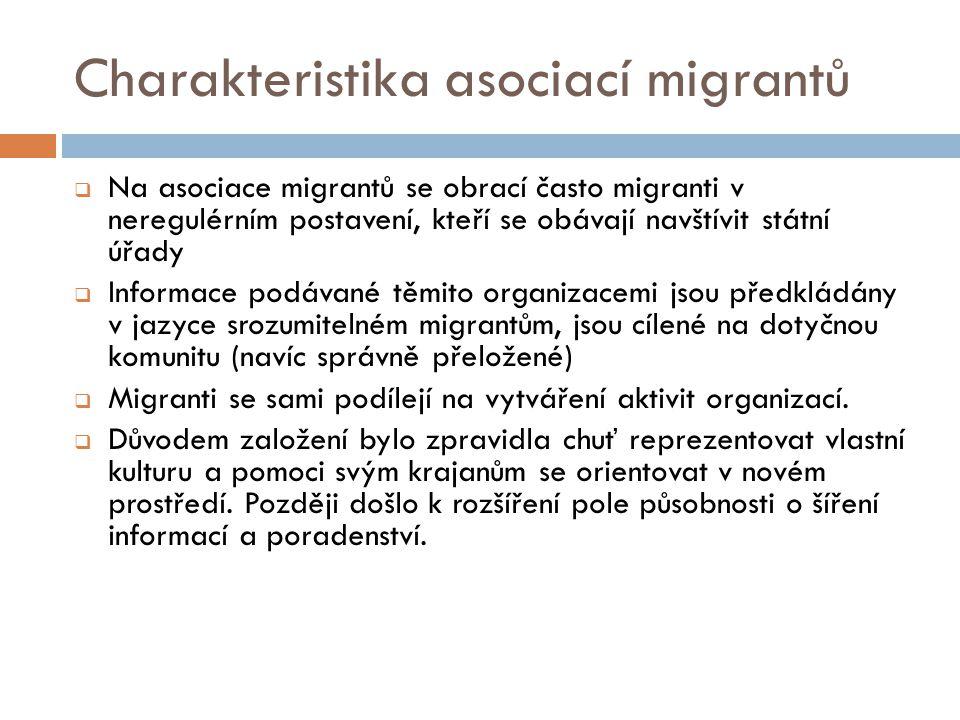 Charakteristika asociací migrantů  Na asociace migrantů se obrací často migranti v neregulérním postavení, kteří se obávají navštívit státní úřady  Informace podávané těmito organizacemi jsou předkládány v jazyce srozumitelném migrantům, jsou cílené na dotyčnou komunitu (navíc správně přeložené)  Migranti se sami podílejí na vytváření aktivit organizací.