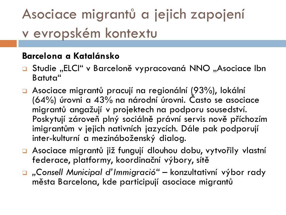 """Asociace migrantů a jejich zapojení v evropském kontextu Barcelona a Katalánsko  Studie """"ELCI v Barceloně vypracovaná NNO """"Asociace Ibn Batuta  Asociace migrantů pracují na regionální (93%), lokální (64%) úrovni a 43% na národní úrovni."""