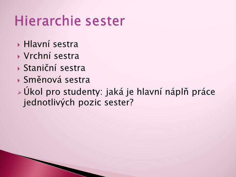 Hlavní sestra  Vrchní sestra  Staniční sestra  Směnová sestra  Úkol pro studenty: jaká je hlavní náplň práce jednotlivých pozic sester?