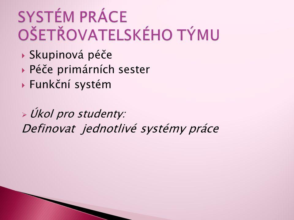  Skupinová péče  Péče primárních sester  Funkční systém  Úkol pro studenty: Definovat jednotlivé systémy práce