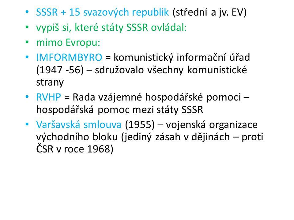 SSSR + 15 svazových republik (střední a jv. EV) vypiš si, které státy SSSR ovládal: mimo Evropu: IMFORMBYRO = komunistický informační úřad (1947 -56)
