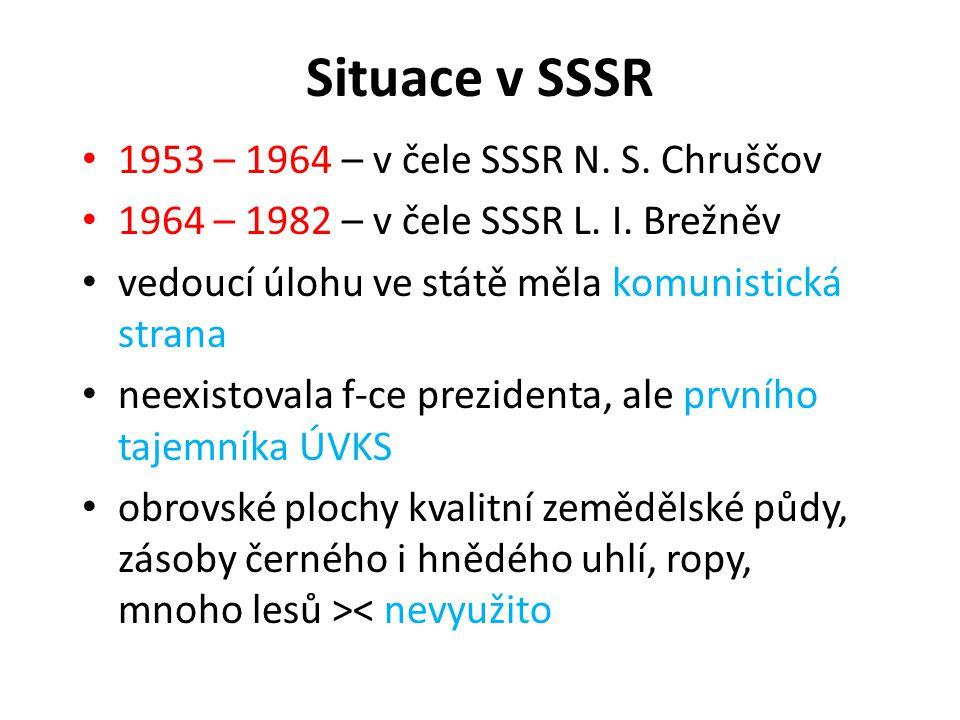 Situace v SSSR 1953 – 1964 – v čele SSSR N. S. Chruščov 1964 – 1982 – v čele SSSR L. I. Brežněv vedoucí úlohu ve státě měla komunistická strana neexis