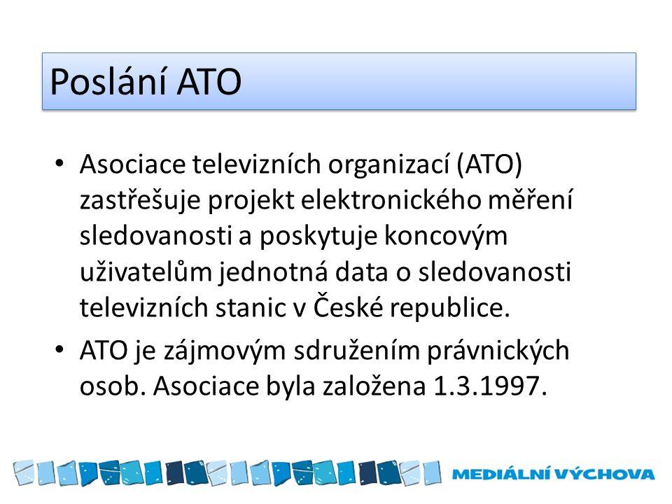Poslání ATO Asociace televizních organizací (ATO) zastřešuje projekt elektronického měření sledovanosti a poskytuje koncovým uživatelům jednotná data o sledovanosti televizních stanic v České republice.