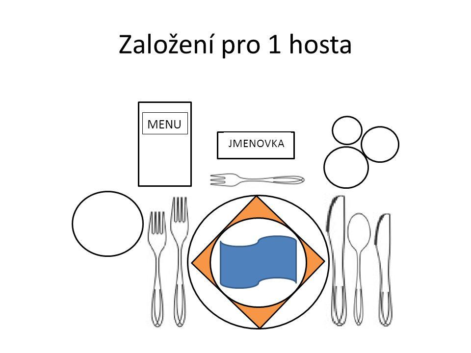 Založení pro 1 hosta JMENOVKA MENU