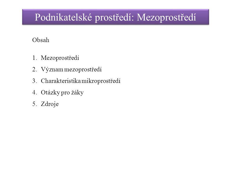 Podnikatelské prostředí: Mezoprostředí Obsah 1.Mezoprostředí 2.Význam mezoprostředí 3.Charakteristika mikroprostředí 4.Otázky pro žáky 5.Zdroje