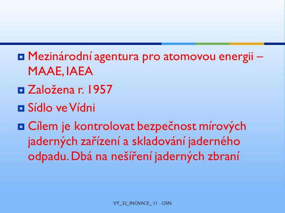 Mezinárodní agentura pro atomovou energii – MAAE, IAEA  Založena r.