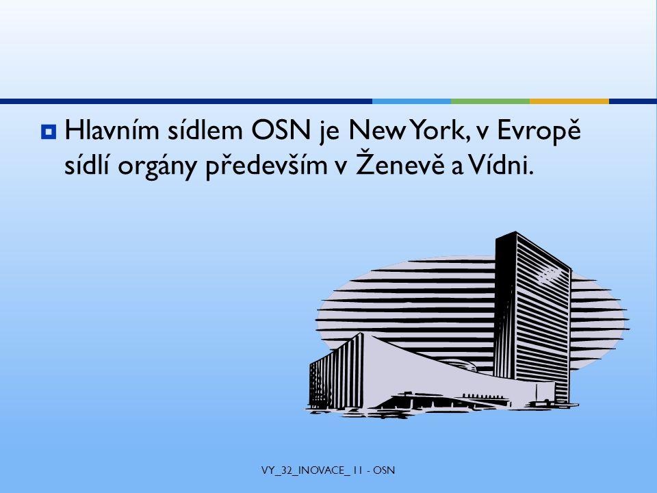  Hlavním sídlem OSN je New York, v Evropě sídlí orgány především v Ženevě a Vídni.