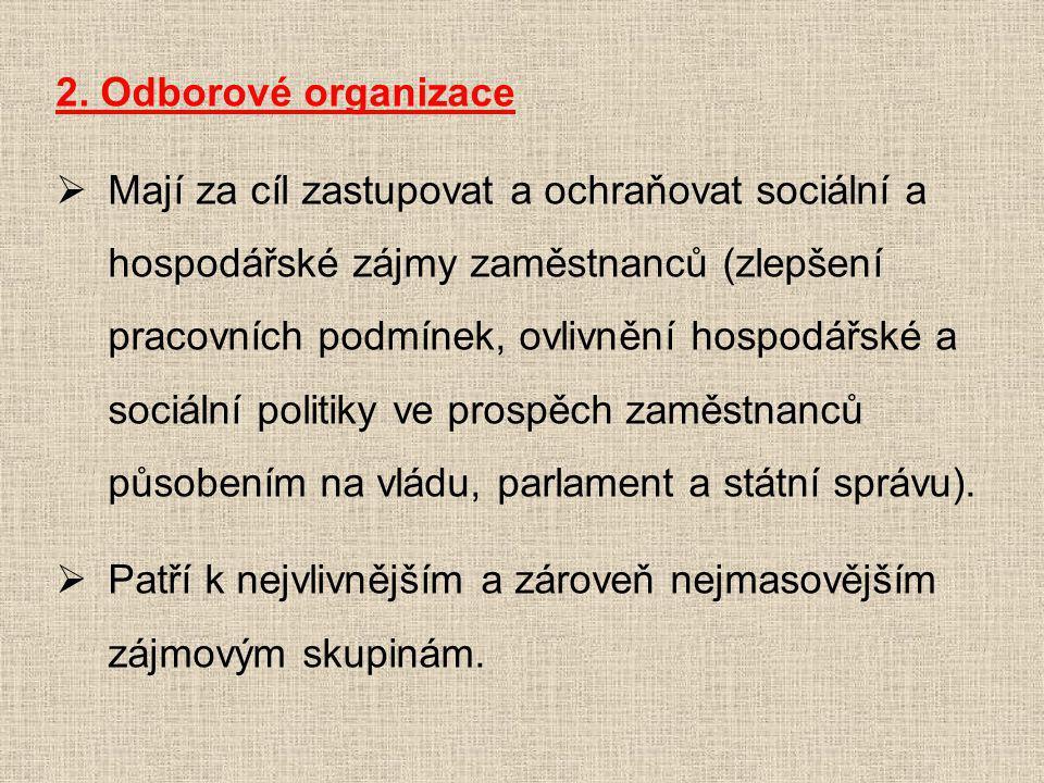 2. Odborové organizace  Mají za cíl zastupovat a ochraňovat sociální a hospodářské zájmy zaměstnanců (zlepšení pracovních podmínek, ovlivnění hospodá