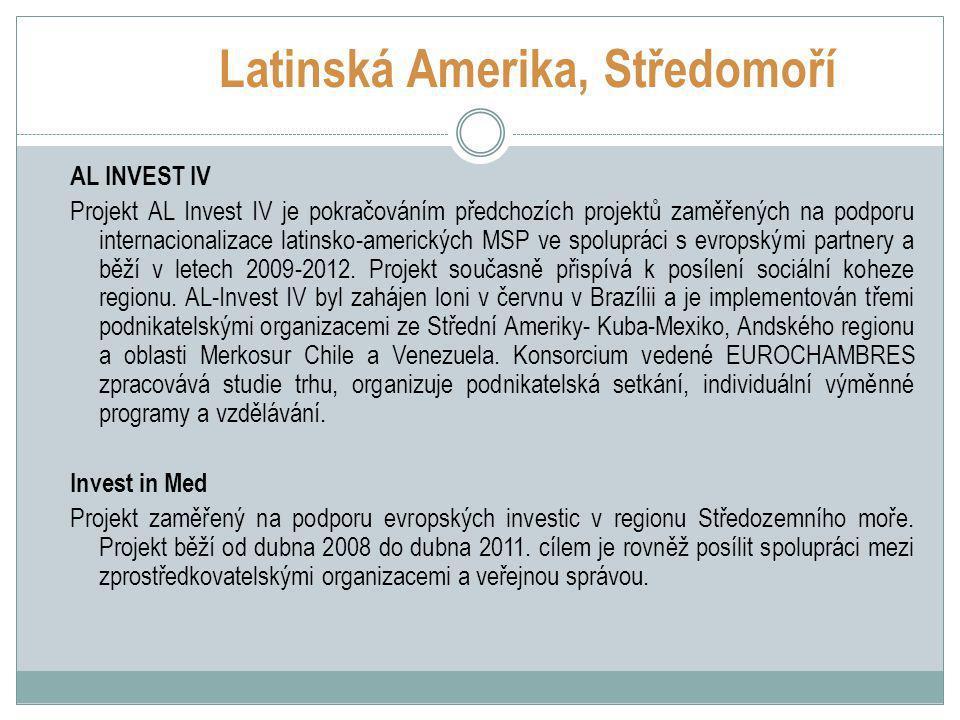 Latinská Amerika, Středomoří AL INVEST IV Projekt AL Invest IV je pokračováním předchozích projektů zaměřených na podporu internacionalizace latinsko-amerických MSP ve spolupráci s evropskými partnery a běží v letech 2009-2012.