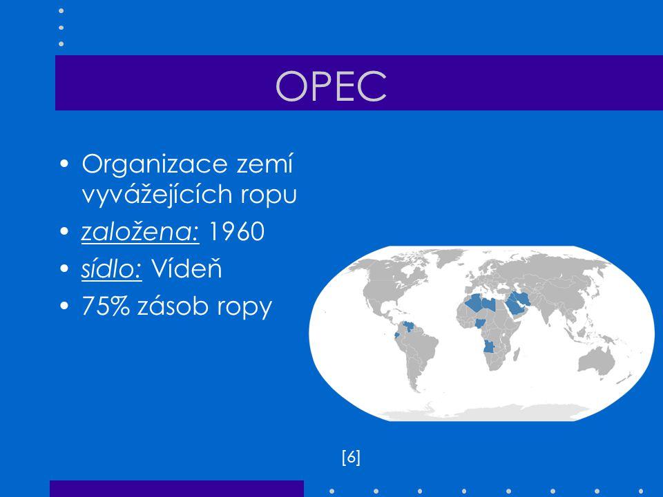 OPEC Organizace zemí vyvážejících ropu založena: 1960 sídlo: Vídeň 75% zásob ropy [6][6]