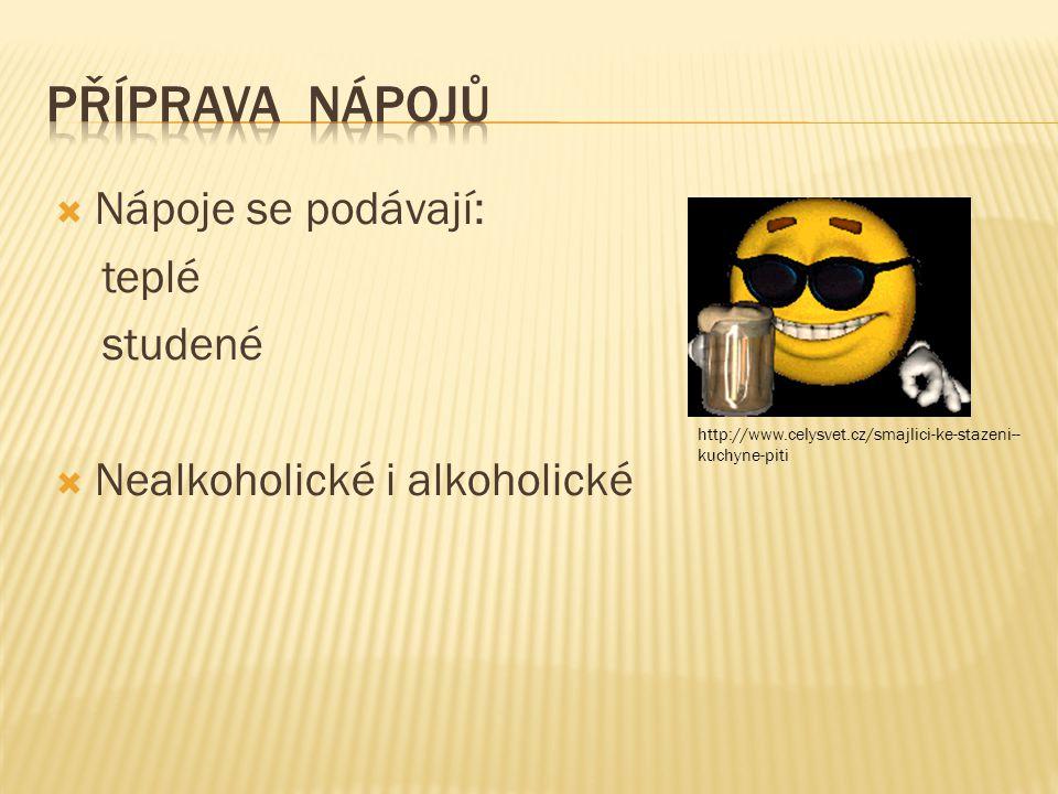  Nápoje se podávají: teplé studené  Nealkoholické i alkoholické http://www.celysvet.cz/smajlici-ke-stazeni-- kuchyne-piti