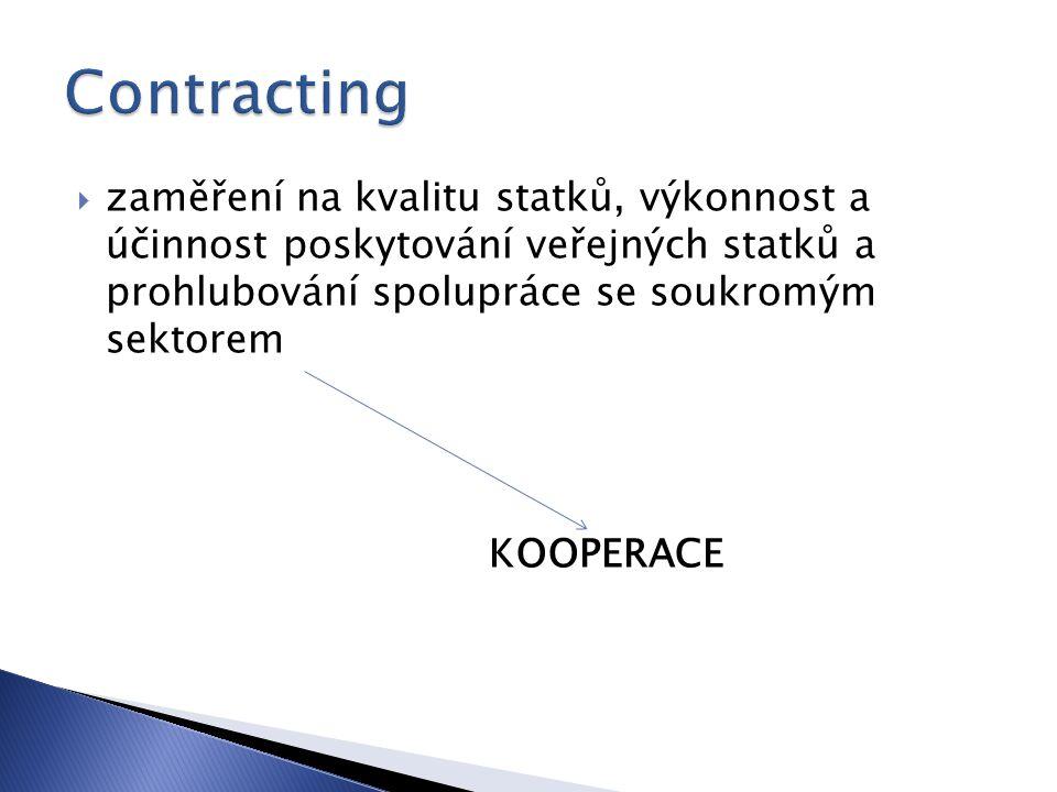  zaměření na kvalitu statků, výkonnost a účinnost poskytování veřejných statků a prohlubování spolupráce se soukromým sektorem KOOPERACE
